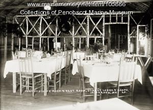 Dining room at Sunset Lodge & Camps, Jefferson, ca. 1930