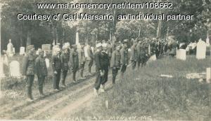 Memorial gathering at Hillside Cemetery, Monson, 1922