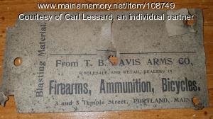 T. B. Davis Arms Company business card, ca. 1900