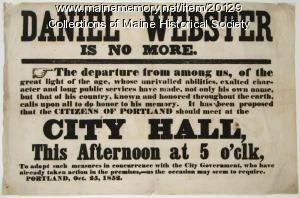Notice of Daniel Webster death, Portland, 1852