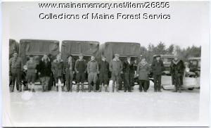 CCC crew and trucks, Alfred, ca. 1933