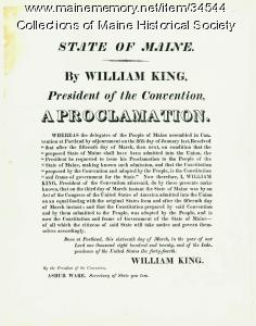 Proclamation of statehood, 1820