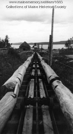 Log tram-way between Chamberlain and Eagle Lakes, 1908
