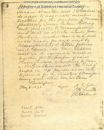 Agreement to Associate, Biddeford, 1873