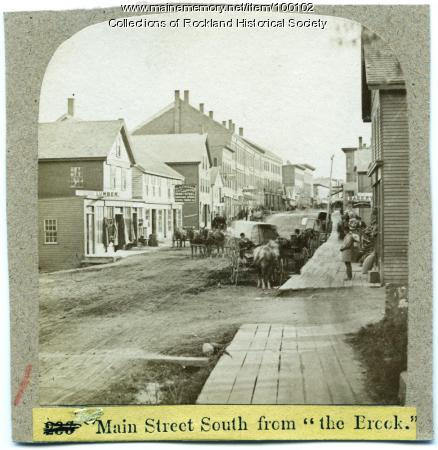 Main Street south from the Brook, Rockland, ca. 1875