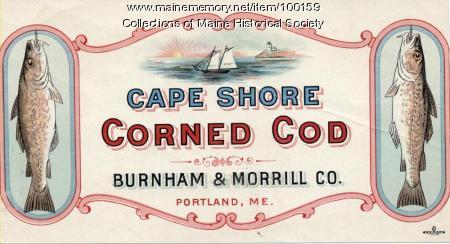 Cape Shore corned cod label, Portland, ca. 1920