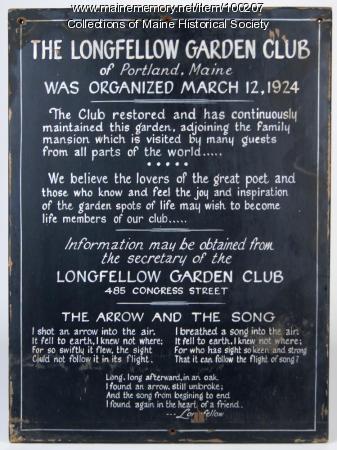 Longfellow Garden Club sign, Portland, ca. 1924