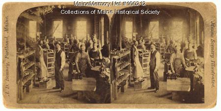 Shoe shop interior, Portland, ca. 1875