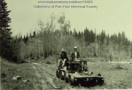 Bangor and Aroostook Railroad hand car, Aroostook County, ca. 1930