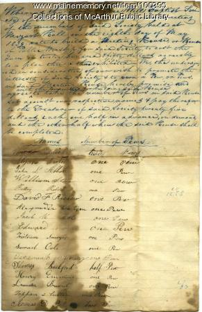 Free Will Baptist Society of Saco and Biddeford pew subscriptions, 1839