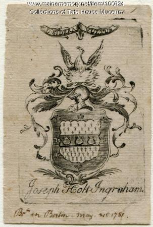 Bookplate, Portland, ca. 1774