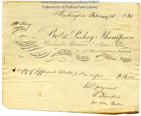 William King receipt for Jefferson book, Bath, 1830