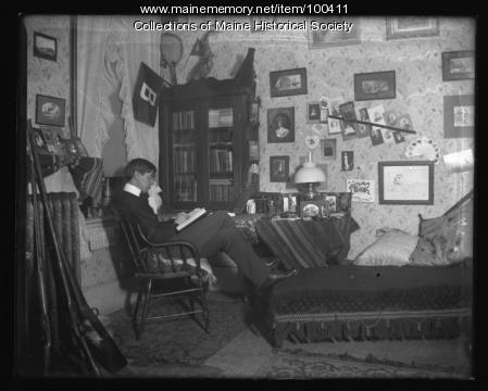 Dormitory room at Bates College, Lewiston, ca. 1901