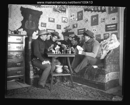 Staged card game at Bates College, Lewiston, ca. 1901