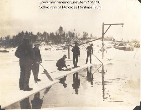 Cutting ice, Norcross, ca. 1900