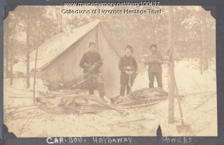 Hunters with caribou, Millinocket Lake, ca. 1898