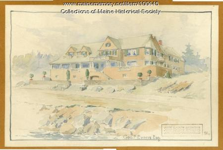 John Howard Stevens architectural watercolor, Portland, 1907