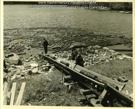 Log boom, Westport Island, 1957