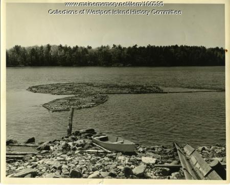 Boom floating over Goose Rocks Passage, Westport Island, 1957