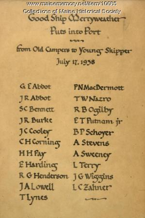Camp Merryweather Farewell Message,  1938