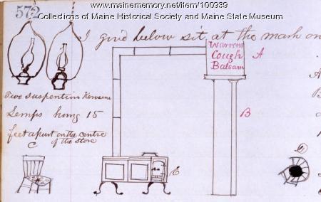 Lamps and stove, John Martin store, Bangor, 1864