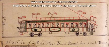 First electric railroad car in Bangor, 1889