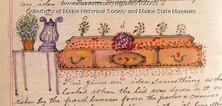 Mabelle Martin's casket, Bangor, 1899