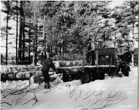 Rolling logs, Lovewell Pond, 1939