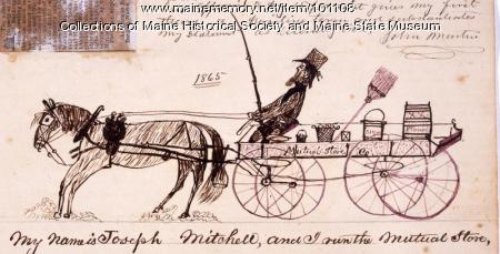 Joseph Mitchell and Mutual Store wagon, Bangor, 1865