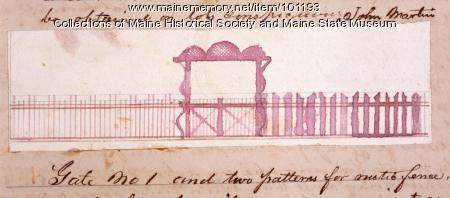 Design for rustic fence, gate, Bangor, 1867