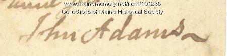 John Adams signature, Sept. 26, 1774