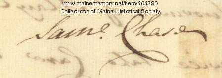 Samuel Chase signature, May 6, 1776