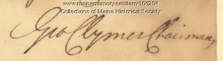 George Clymer signature, Jun. 26, 1776