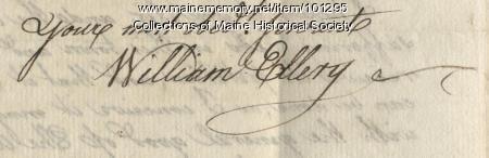 William Ellery signature, Aug. 29, 1789.