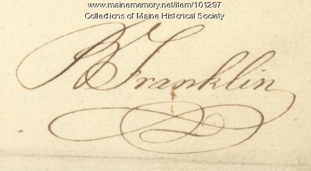 Benjamin Franklin signature, June 5, 1771