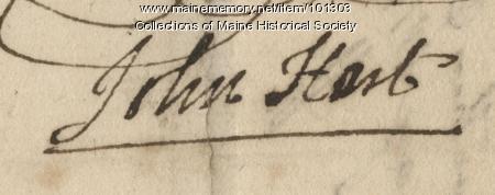 John Hart signature, Mar. 2, 1776