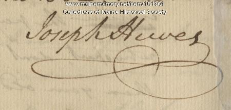 Joseph Hewes signature Mar. 26, 1776