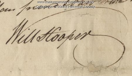William Hooper signature, Oct. 14, 1780