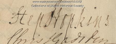 Stephen Hopkins signature, Jan. 6, 1776