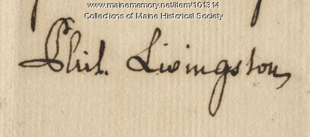 Philip Livingston signature, Mar. 4, 1778
