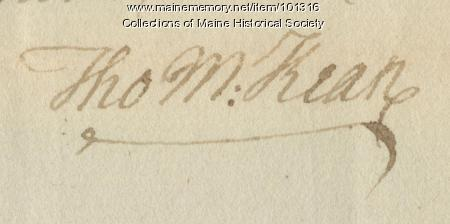 Thomas McKean signature, Dec. 9, 1786