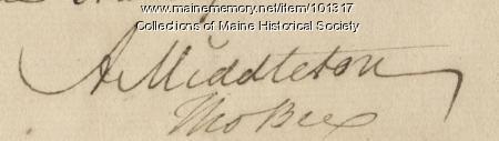 Arthur Middleton signature, Dec. 24, 1781
