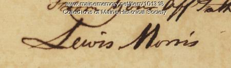 Lewis Morris signature, Sep. 13, 1776