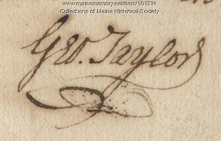 George Taylor signature, Nov. 23, 1780