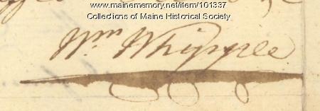 William Whipple signature, Sep. 2, 1776