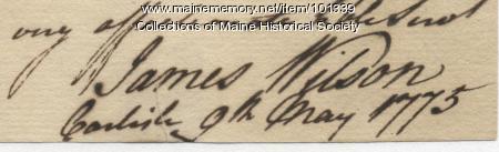 James Wilson signature, May 9, 1775