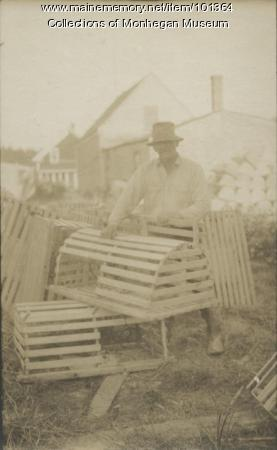 Walter Davis tending lobster gear, Monhegan, 1932