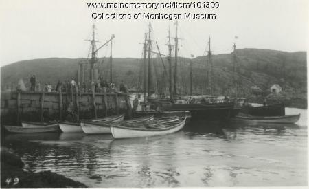 Fogged in at Monhegan wharf, Monhegan, ca. 1932