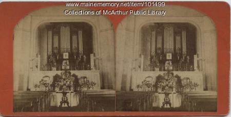 Church altar and pipe organ, 1879