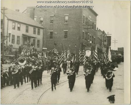 Painchaud's Band parading on Main Street, Biddeford, 1933